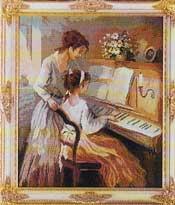 Zwei Maedchen am Klavier